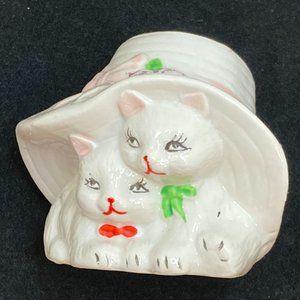 Vintage White Ceramic Kittens Under a Sun Hat